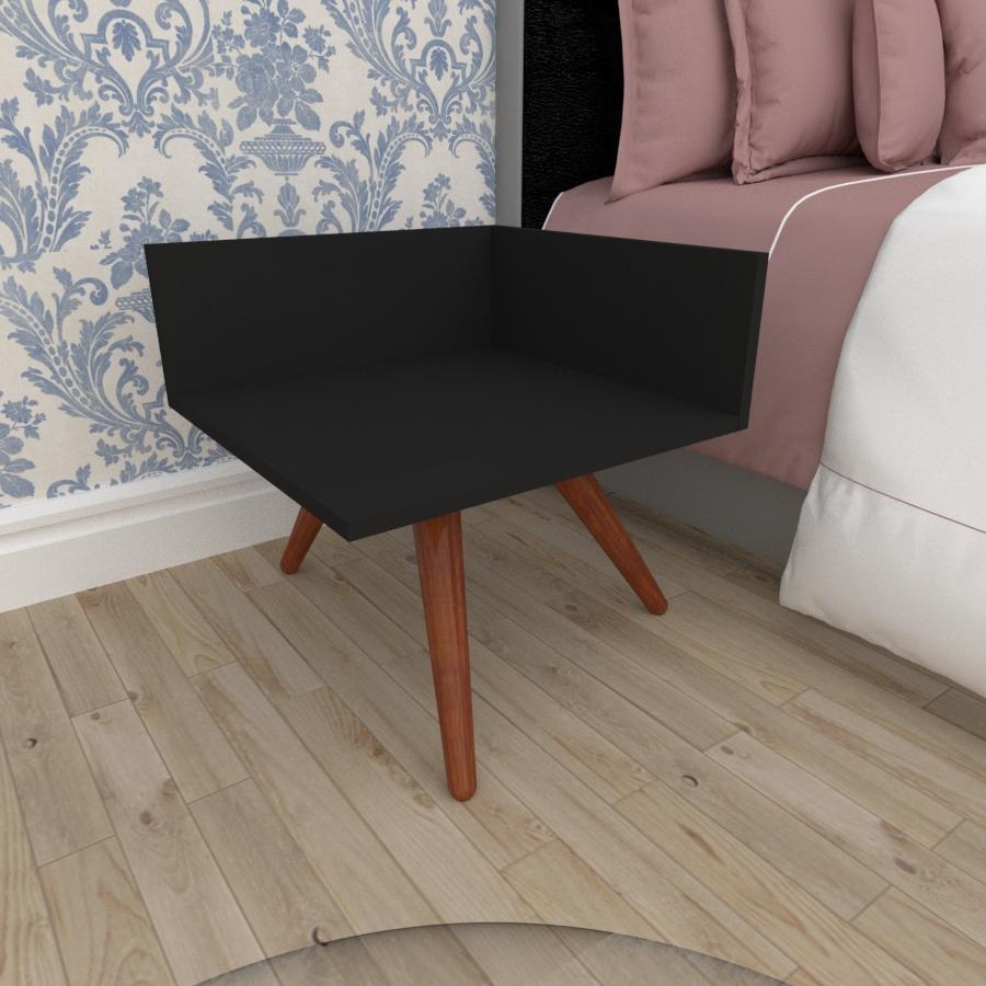 Mesa de Cabeceira simples em mdf preto com 3 pés inclinados em madeira maciça cor mogno