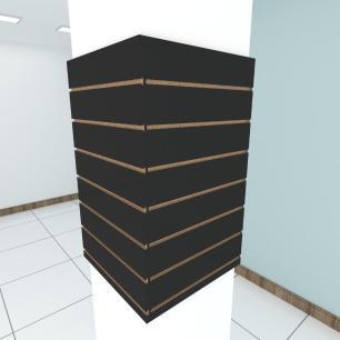 Kit 4 Painel canaletado para pilar preto 2 peças 54(L)x90(A)cm + 2 peças 50(L)x90(A)cm