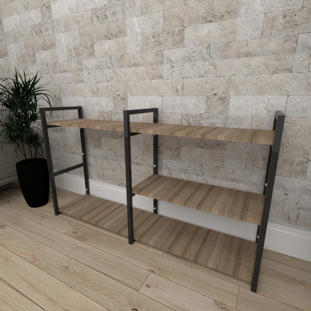 Mini estante industrial para escritório aço cor preto mdf 30cm cor amadeirado escuro mod ind14aeep