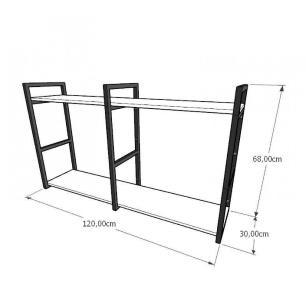 Mini estante industrial para escritório aço cor preto mdf 30cm cor amadeirado escuro mod ind13aeep