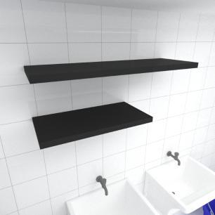 Kit 2 prateleiras lavanderia em MDF sup. Inivisivel preto 1 60x30cm 1 90x30cm modelo pratlvp32