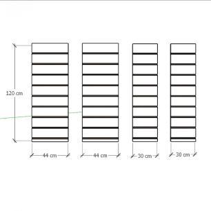 Kit 4 Painel canaletado para pilar cinza cristal 2 peças 44(L)x120(A)cm + 2 peças 30(L)x120(A)cm