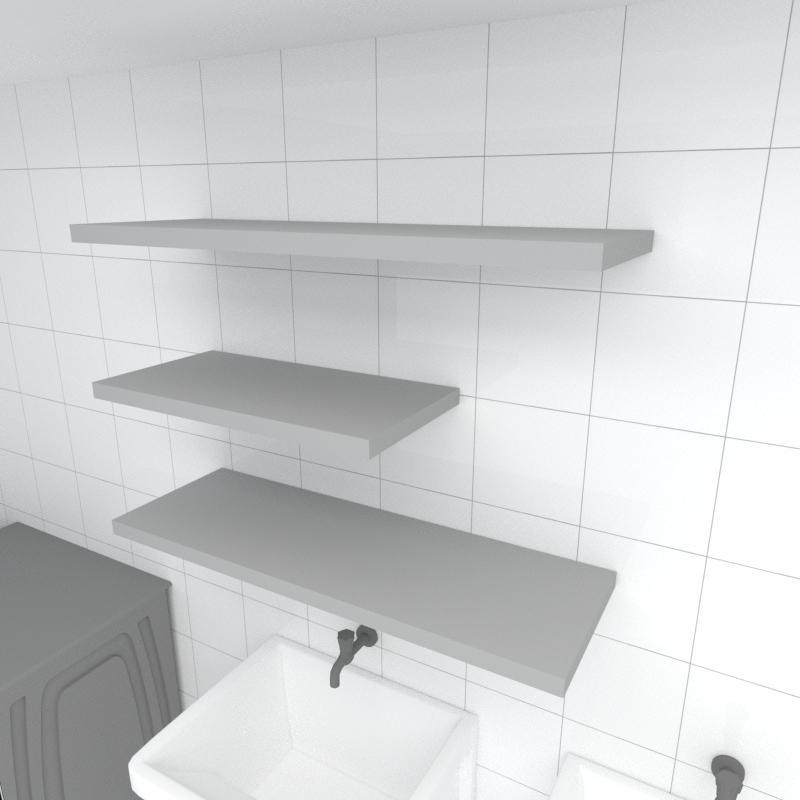 Kit 3 prateleiras lavanderia em MDF sup. Inivisivel cinza 1 60x30cm 2 90x30cm modelo pratlvc31