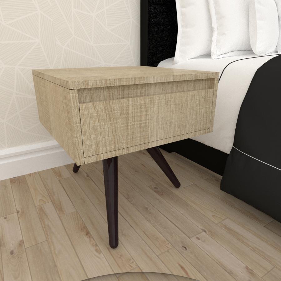 Mesa de Cabeceira com gaveta mdf amadeirado claro com 3 pés inclinados em madeira maciça cor tabaco