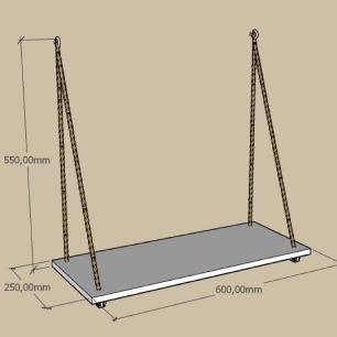 nicho prateleira moderna com cordas, 25x60 cm mdf preto