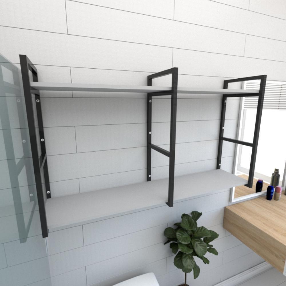 Prateleira industrial para banheiro aço cor preto prateleiras 30cm cor cinza modelo ind13cb