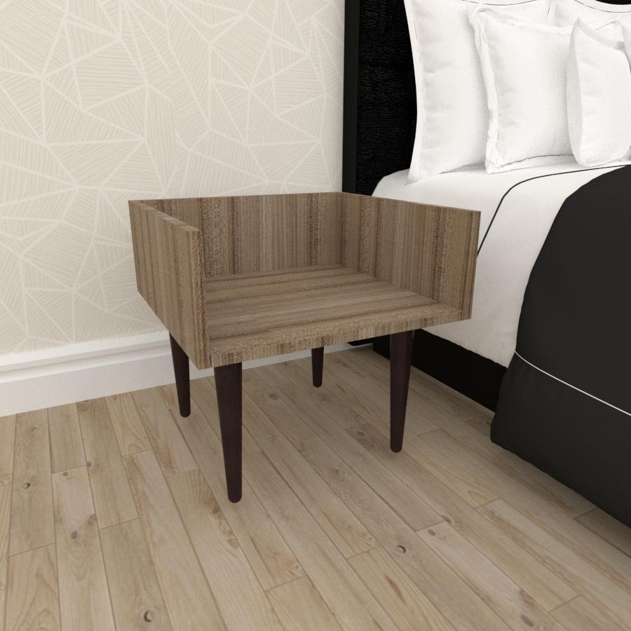 Mesa de Cabeceira minimalista em mdf amadeirado escuro com 4 pés retos em madeira maciça cor tabaco