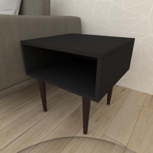 Mesa lateral em mdf preto com 4 pés retos em madeira maciça cor tabaco