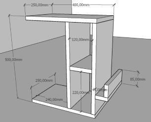 Kit com 2 Mesa de cabeceira moderna amadeirado escuro