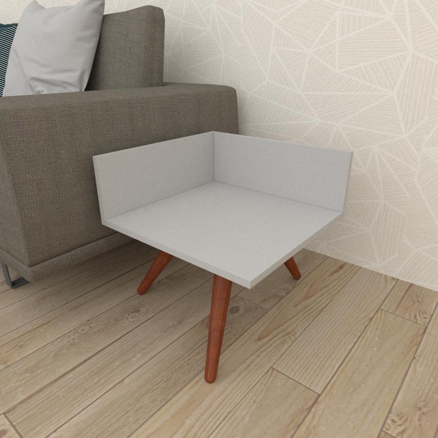Mesa lateral simples em mdf cinza com 3 pés inclinados em madeira maciça cor mogno