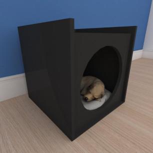 Mesa de cabeceira caminha minimalista pequeno cachorro em mdf preto