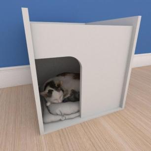 Mesa de cabeceira caminha compacta pequeno gato em mdf cinza
