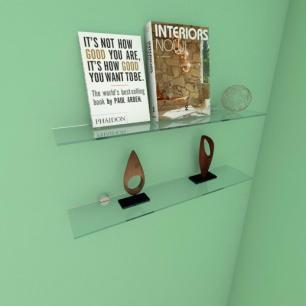 Kit com duas Prateleira para escritório 50 cm vidro temperado