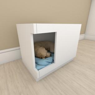 caminha casinha para cachorro em mdf Branco