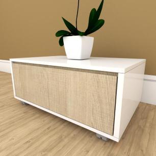 Mesa de cabeceira amadeirado claro com branco