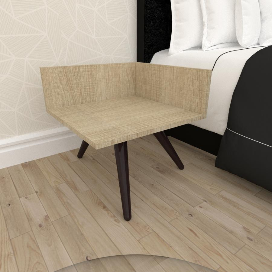 Mesa de Cabeceira simples em mdf amadeirado claro com 3 pés inclinados em madeira maciça cor tabaco