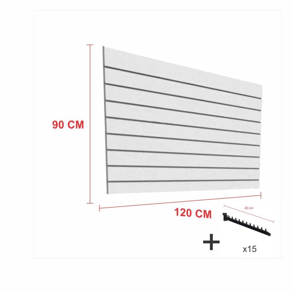 Kit Painel canaletado cinza alt 90 cm comp 120 cm mais 15 ganchos rt 40 cm para roupas