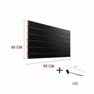 Expositor canaletado preto alt 60 cm comp 90 cm mais 30 ganchos 20 cm