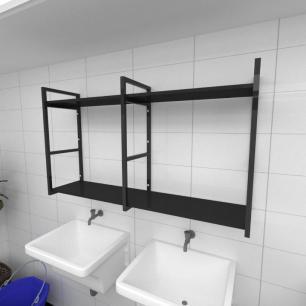 Prateleira industrial para lavanderia aço cor preto prateleiras 30 cm cor preto modelo ind13plav