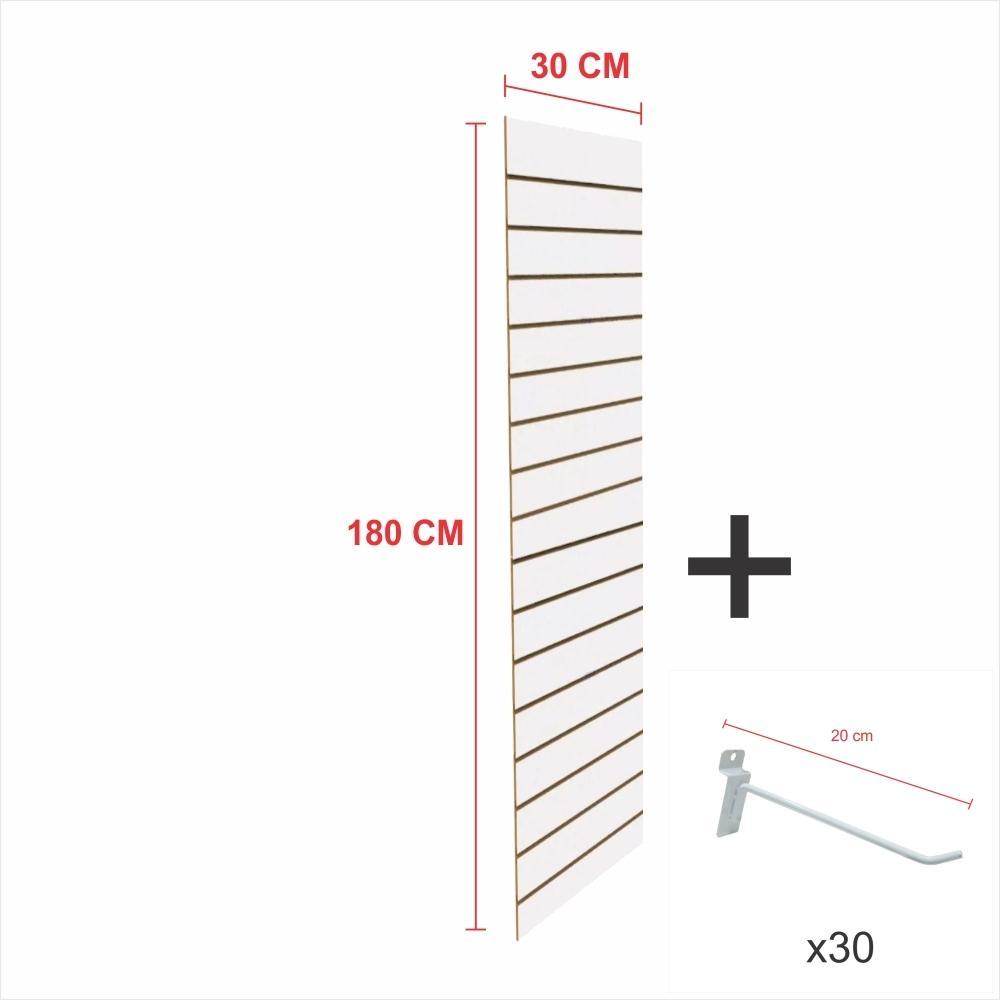 Expositor canaletado branco alt 180 cm comp 30 cm mais 30 ganchos 20 cm