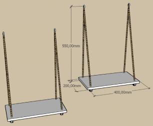 Kit com 2 prateleira com cordas, 20x40 cm mdf preto