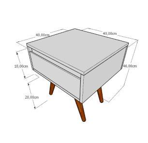 Mesa lateral com gaveta em mdf amadeirado claro com 4 pés inclinados em madeira maciça cor mogno