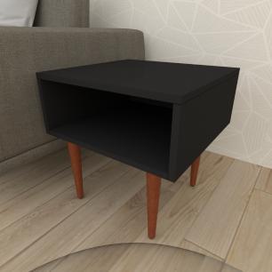 Mesa lateral em mdf preto com 4 pés retos em madeira maciça cor mogno