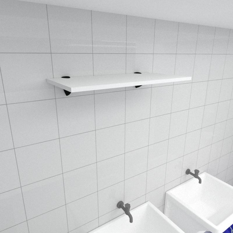 Prateleira para lavanderia MDF suporte tucano cor branco 60(C)x30(P)cm modelo pratlvb04