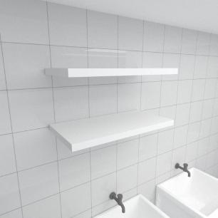 Kit 2 prateleiras para lavanderia em MDF suporte Inivisivel branco 60x30cm modelo pratlvb23