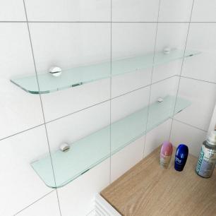 kit com 2 Prateleira de vidro temperado para banheiro 60(C)x8(P)cm