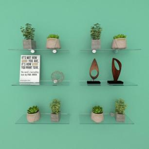 Kit com seis Prateleira para escritório 30 cm vidro temperado