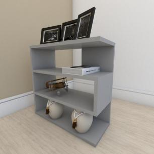 Mesa Lateral para sofá moderna com 3 niveis em mdf Cinza