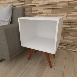 Mesa lateral moderna em mdf branco com 4 pés inclinados em madeira maciça cor mogno