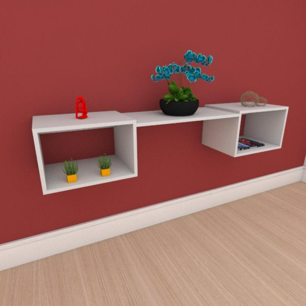 Rack minimalista moderno com nichos em mdf cinza