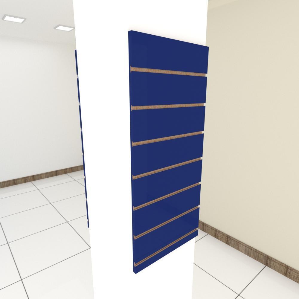 Kit 2 Painel canaletado para pilar azul escuro 2 peças 40(L)x90(A) cm