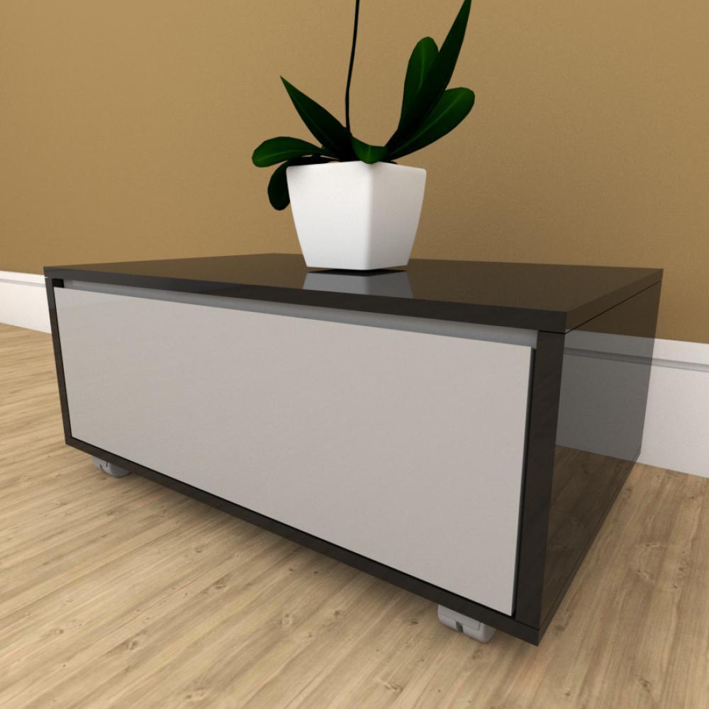 Mesa de cabeceira cinza com preto