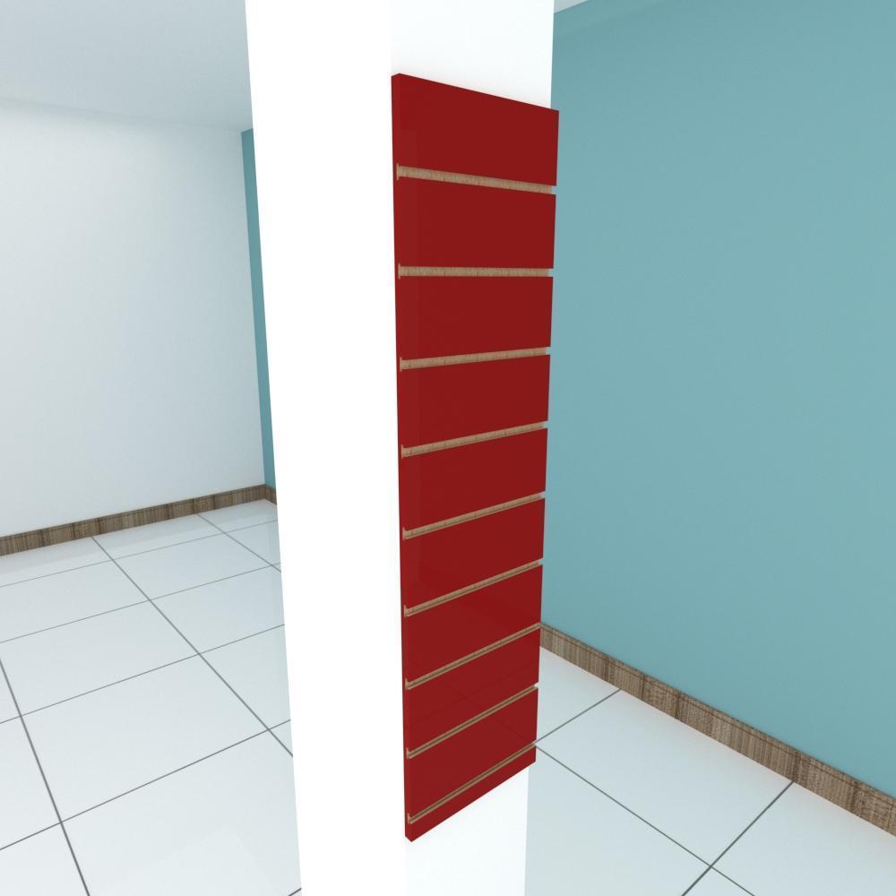 Painel canaletado para pilar vermelho escuro 1 peça 30(L)x120(A)cm