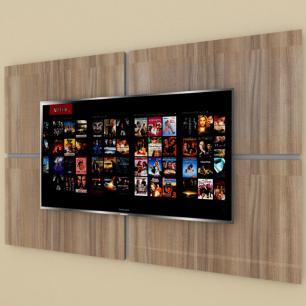 Painel Tv pequeno moderno amadeirado escuro com cinza