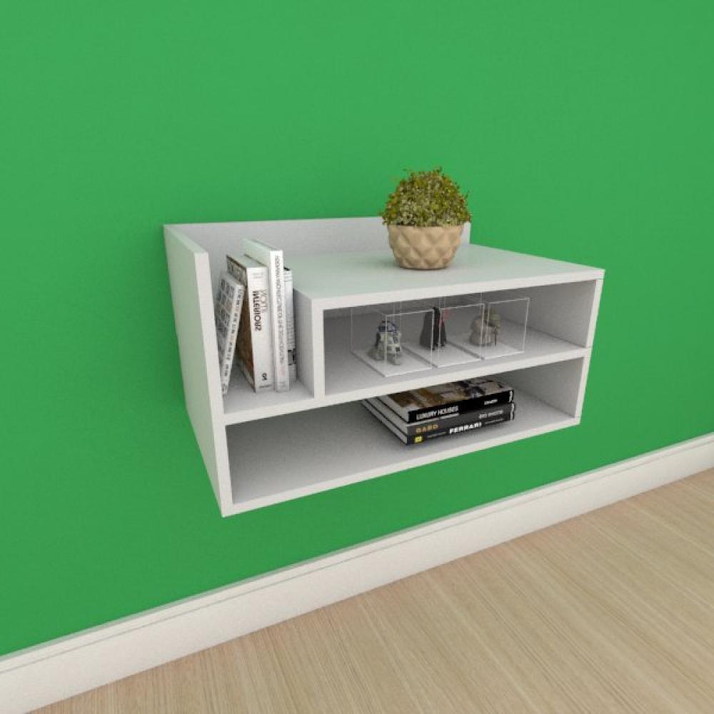 Mesa de cabeceira moderno com nichos em mdf cinza
