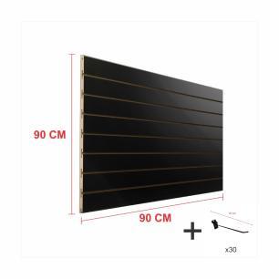 Expositor canaletado preto alt 90 cm comp 90 cm mais 30 ganchos 20 cm