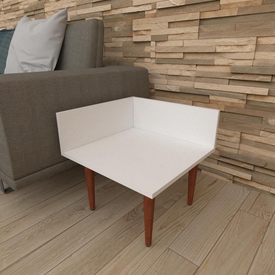 Mesa lateral simples em mdf branco com 4 pés retos em madeira maciça cor mogno