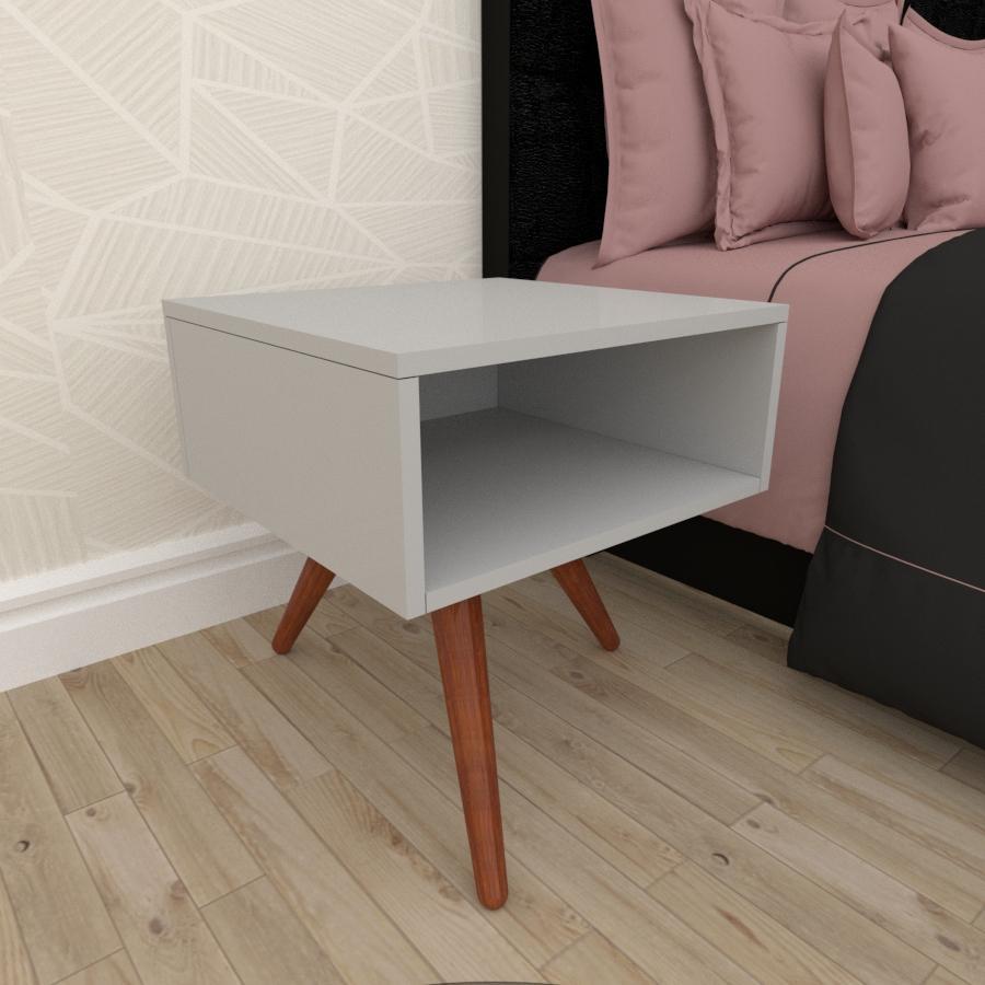 Mesa de Cabeceira em mdf cinza com 3 pés inclinados em madeira maciça cor mogno