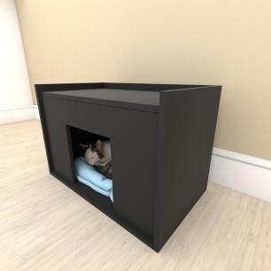 camapet para Gato em mdf Preto