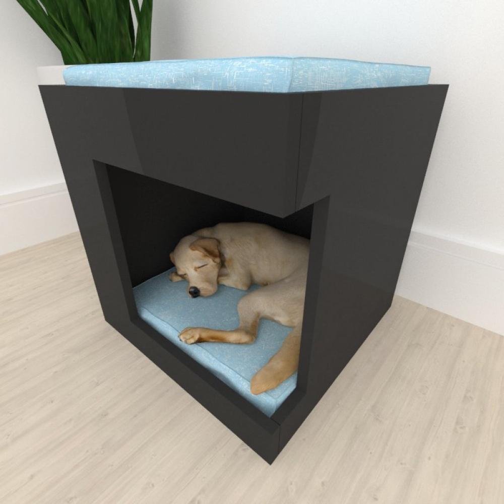 Casinha caminha para cachorro cão alto padrão mdf preto