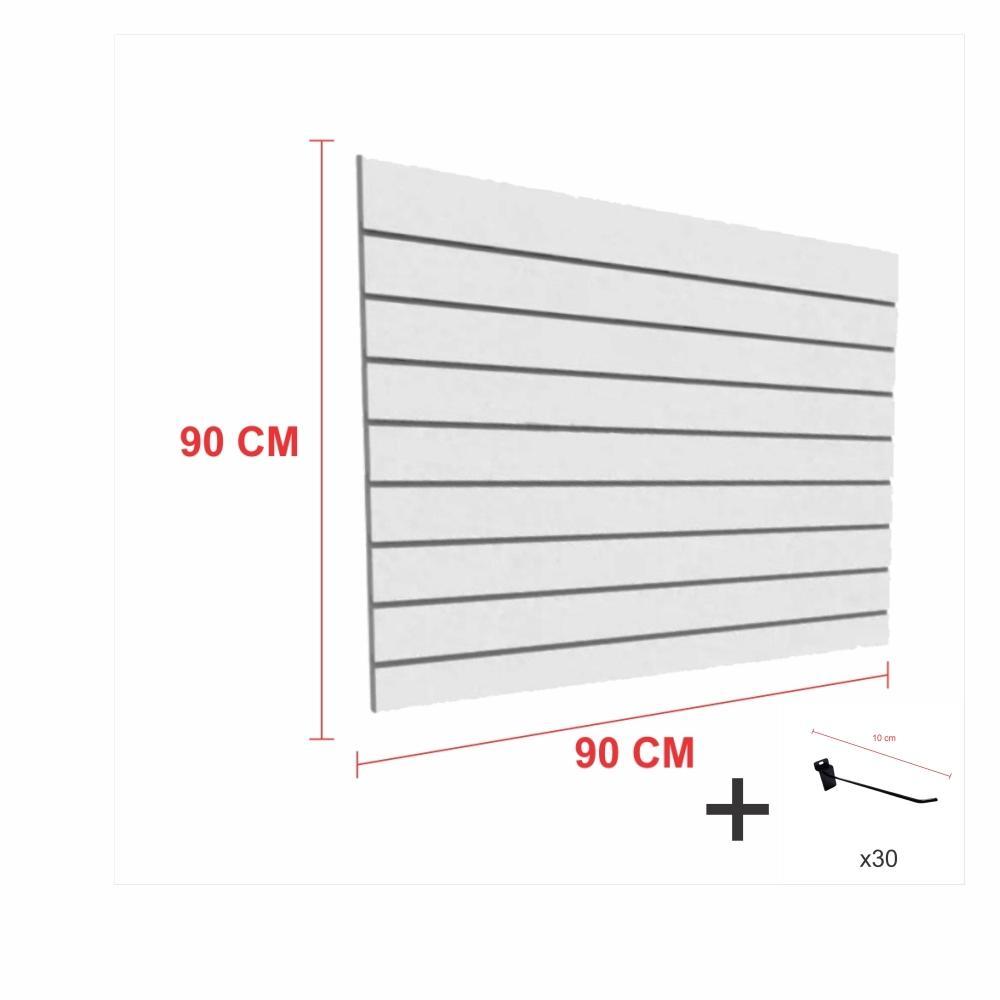 Expositor canaletado cinza alt 90 cm comp 90 cm mais 30 ganchos 10 cm