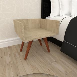 Mesa de Cabeceira minimalista mdf amadeirado claro com 4 pés inclinados em madeira maciça cor mogno