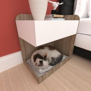 caminha criado gato gaveta mdf cor Amadeirado escuro branco