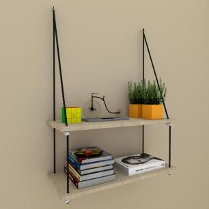 Prateleira moderna com cordas, 25x60 cm mdf Amadeirado claro