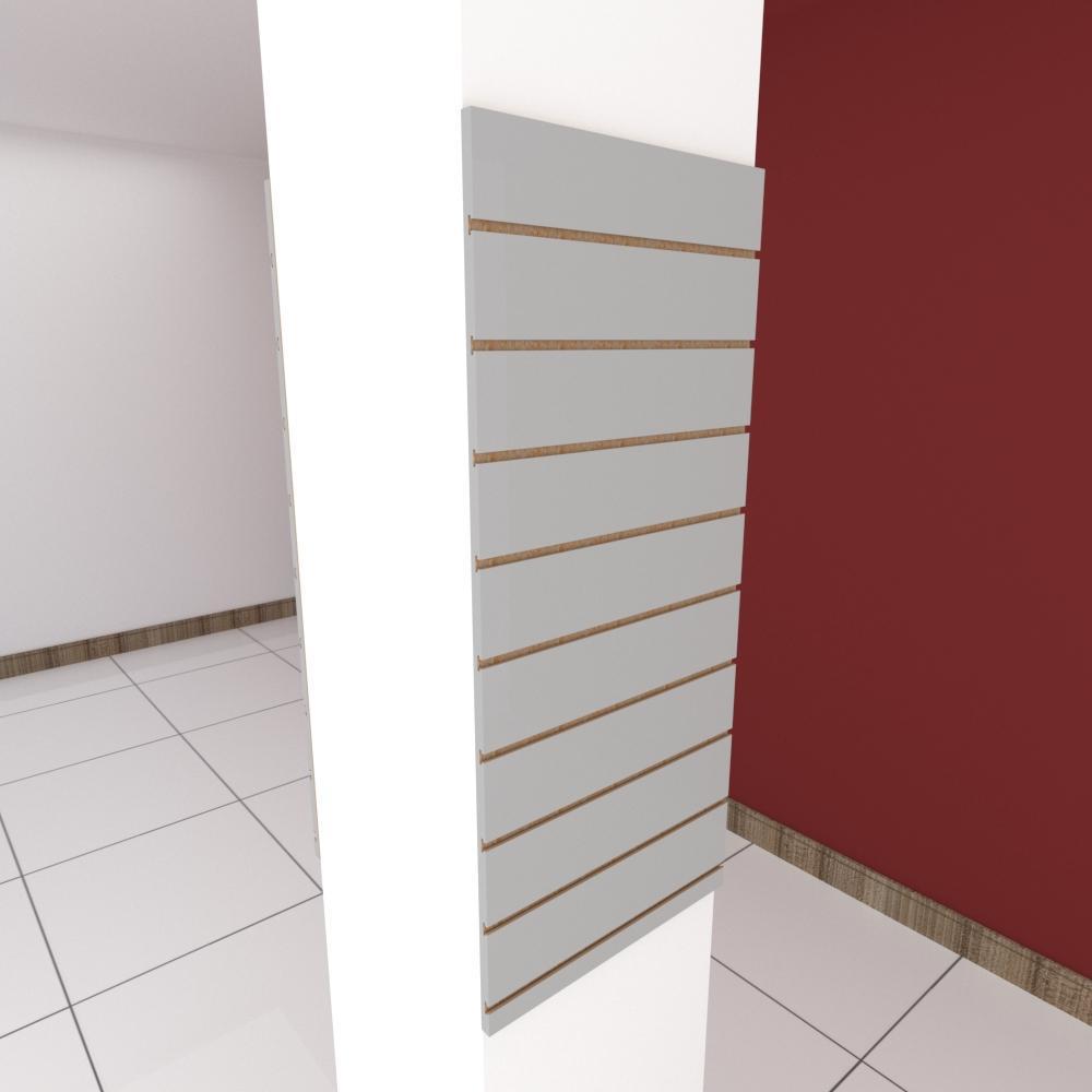 Kit 2 Painel canaletado para pilar cinza cristal 2 peças 50(L)x120(A)cm
