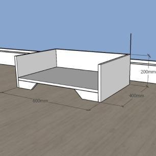 Mesa de cabeceira caminha casinha para Gato em mdf Cinza